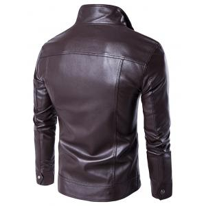 Faux Twinset Stand Collar Double Zipper PU Leather Jacket - BROWN 2XL