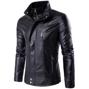 Faux Twinset Stand Collar Double Zipper PU Leather Jacket