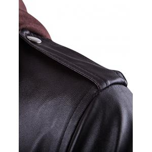 Faux Twinset Double Zip Up PU Leather Jacket -