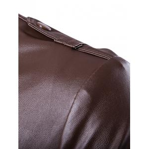 Stand Collar Zip Up Pockets Design PU Leather Jacket - BROWN 2XL
