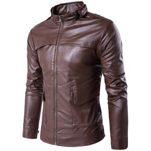 Stand Collar Zip Up Pockets Design PU Leather Jacket