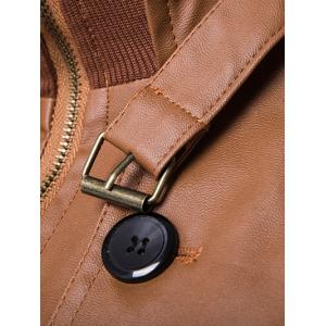 Stand Collar Zip Up Buttons Design PU Leather Jacket - BROWN 2XL