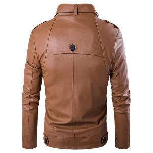 Stand Collar Zip Up Buttons Design PU Leather Jacket -