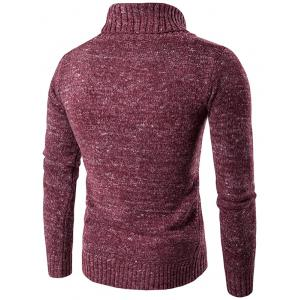 Roll Neck Knit Blends Long Sleeve Sweater - WINE RED 2XL