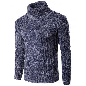 Roll Neck Knit Blends Kink Design Ribbed Sweater - Blue - S