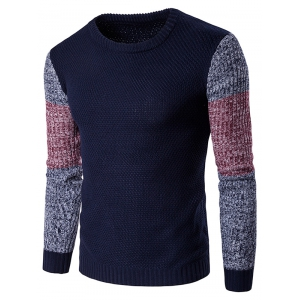 Crew Neck Color Block Spliced Long Sleeve Sweater