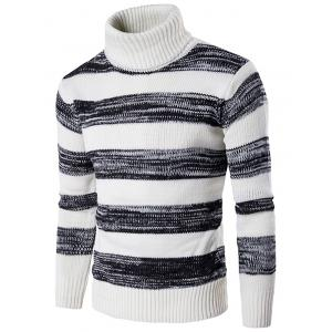 Roll Neck Knit Blends Ombre Stripe Sweater - White - Xl