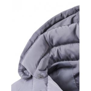Patched Side Zip Up Hooded Padded Coat - GRAY 2XL