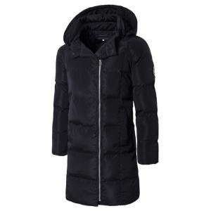 Patched Side Zip Up Hooded Padded Coat - Black - 2xl