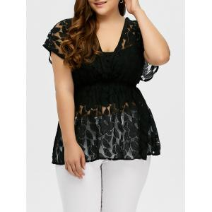 Plus Size Lace Sheer Blouse - Black - 3xl