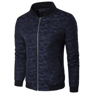 Stand Collar Zip Up Pocket Camo Padded Jacket - Cadetblue - Xl