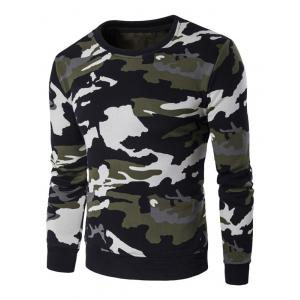 Long Sleeve Flocking Camo Sweatshirt - Green - M