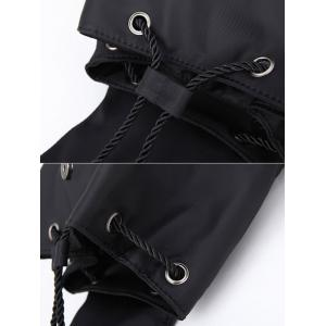 Drawstring Nylon Embroidery Backpack - BLACK