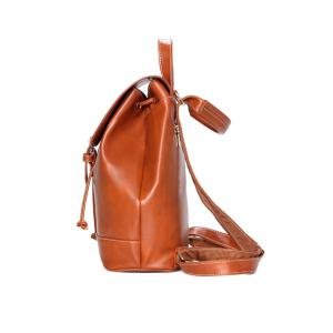 Drawstring PU Leather Backpack With Crossbody Bag -