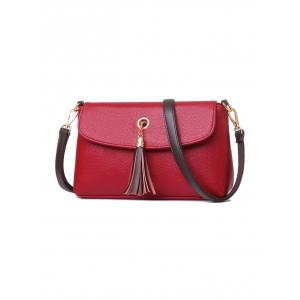 Tassel Eyelet PU Leather Shoulder Bag -
