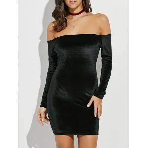 Backlesss Off The Shoulder Long Sleeve Short Velvet Bodycon Dress