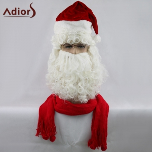 Adiors Christmas Party Santa Claus Beard and Wig Set - White
