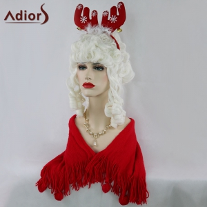 Adiors Long Full Bang Curly Christmas Party Santa Claus Cosplay Wig - White