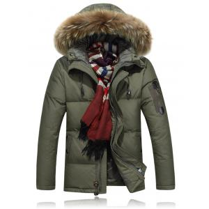 Zipper Up Quilted Jacket with Fur Trim Hood