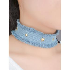 Star Jeans Fringe Wide Choker Necklace - Light Blue - W71 Inch * L79 Inch