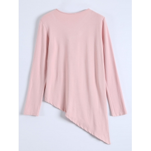Long Sleeve Asymmetric Hem Tee - PINK XL