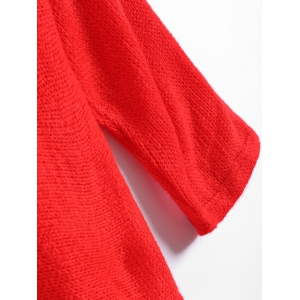 Slash Neck Plain Sweater - RED M