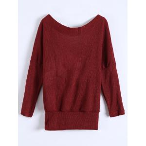 Deep V Neck Sweater - BURGUNDY XL