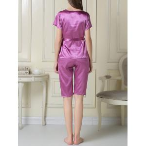 Embroidered Satin Two Piece Summer Pajamas Set -