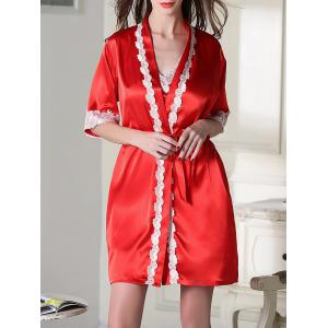 Satin Short Slip Dress and Belted Robe - Red - L