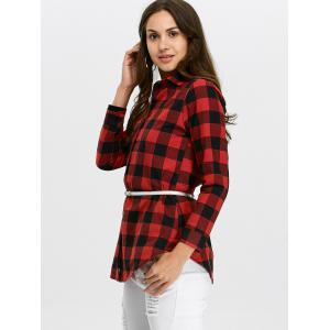 Button Up Plaid Flannel Shirt - RED XL