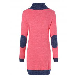 Elbow Patch Longline Knitwear - BLUE AND RED XL