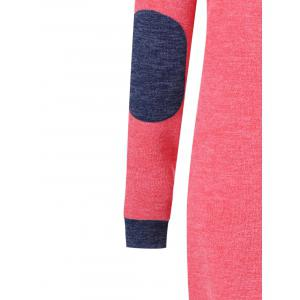 Elbow Patch Longline Knitwear - BLUE/RED XL