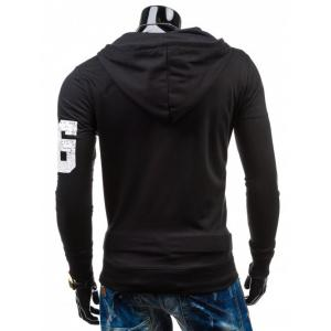 Number Print Drawstring Zip Up Hoodie -