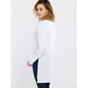 Side Slit High Low Long Sleeve T-Shirt - WHITE XL