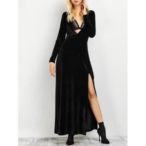 Long Sleeve Low Cut Slit Maxi Evening Dress