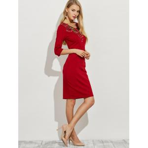 Floral Embroidery Openwork Sheath Dress -