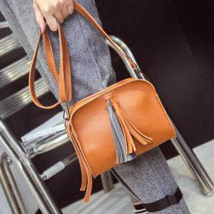 Zip Tassels PU Leather Crossbody Bag -