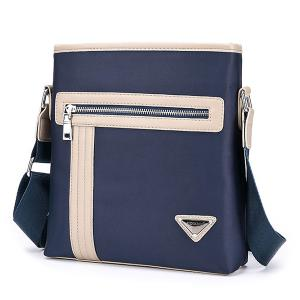 Colour Block Stitching Zippers Crossbody Bag -