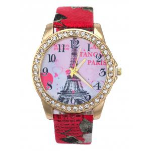 Faux Leather Band Eiffel Tower Quartz Watch