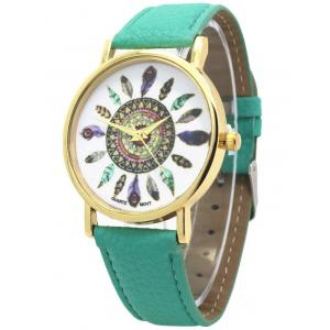Faux Leather Feather Pattern Quartz Watch