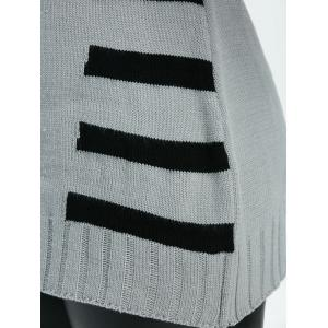Pullover Striped Crew Neck Sweater - LIGHT GRAY ONE SIZE