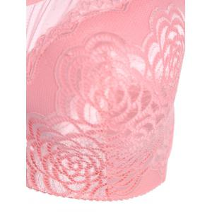 Push Up Plus Size Trendy Full Cup Lace Sheer Bra - PINK 90D