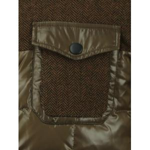 Double Layered Collar Spliced Pocket Quilted Jacket - OLIVE GREEN 2XL