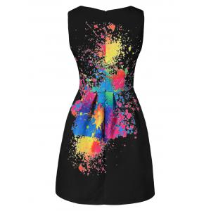 Splatter Print Sleeveless Tulip Dress -