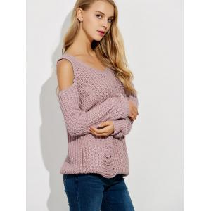 Ripped Cold Shoulder Ribbed Sweater -