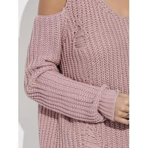 Ripped Cold Shoulder Ribbed Sweater - PINKISH PURPLE 2XL
