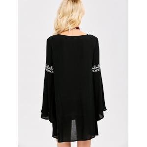Flare Sleeve Mini Smock Dress - BLACK S