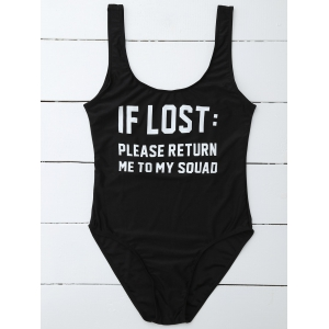 If Lost Letter Unlined One Piece Swimsuit - BLACK XL
