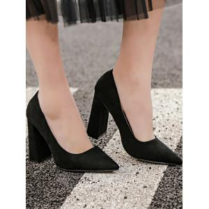 Chunky Heel Suede Pointed Toe Pumps -
