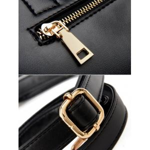 Embroidered Lip Chains Handbag - BLACK